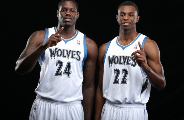Local Input~ MINNEAPOLIS, MN - AUGUST 26:  Anthony Bennett #24 and Andrew Wiggins #22 of the Minnesota Timberwolves pose for portraits on August 26, 2014 at Target Center in Minneapolis, Minnesota.  NOTE TO USER: User expressly acknowledges and agrees that, by downloading and or using this Photograph, user is consenting to the terms and conditions of the Getty Images License Agreement. Mandatory Copyright Notice: Copyright 2014 NBAE (Photo by David Sherman/NBAE via Getty Images) ORG XMIT: 180475234