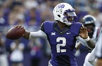 TCU quarterback Trevone Boykin sets to pass against Samford in the first half of an NCAA college football game in Fort Worth, Texas, Saturday, Aug. 30, 2014. (AP Photo/Jim Cowsert)